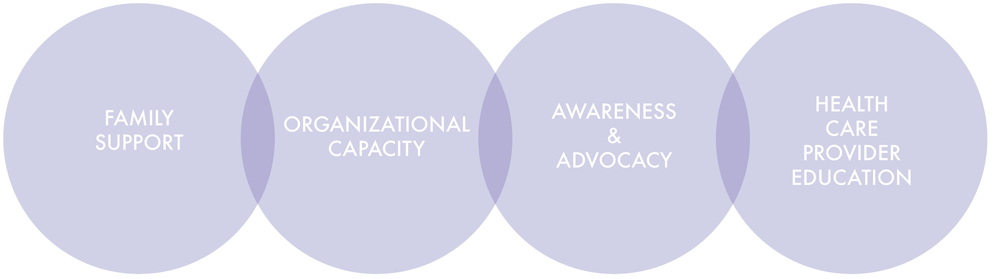 Family Support, Organizational Capacity, Awareness and Advocacy, Health Care Provider Education